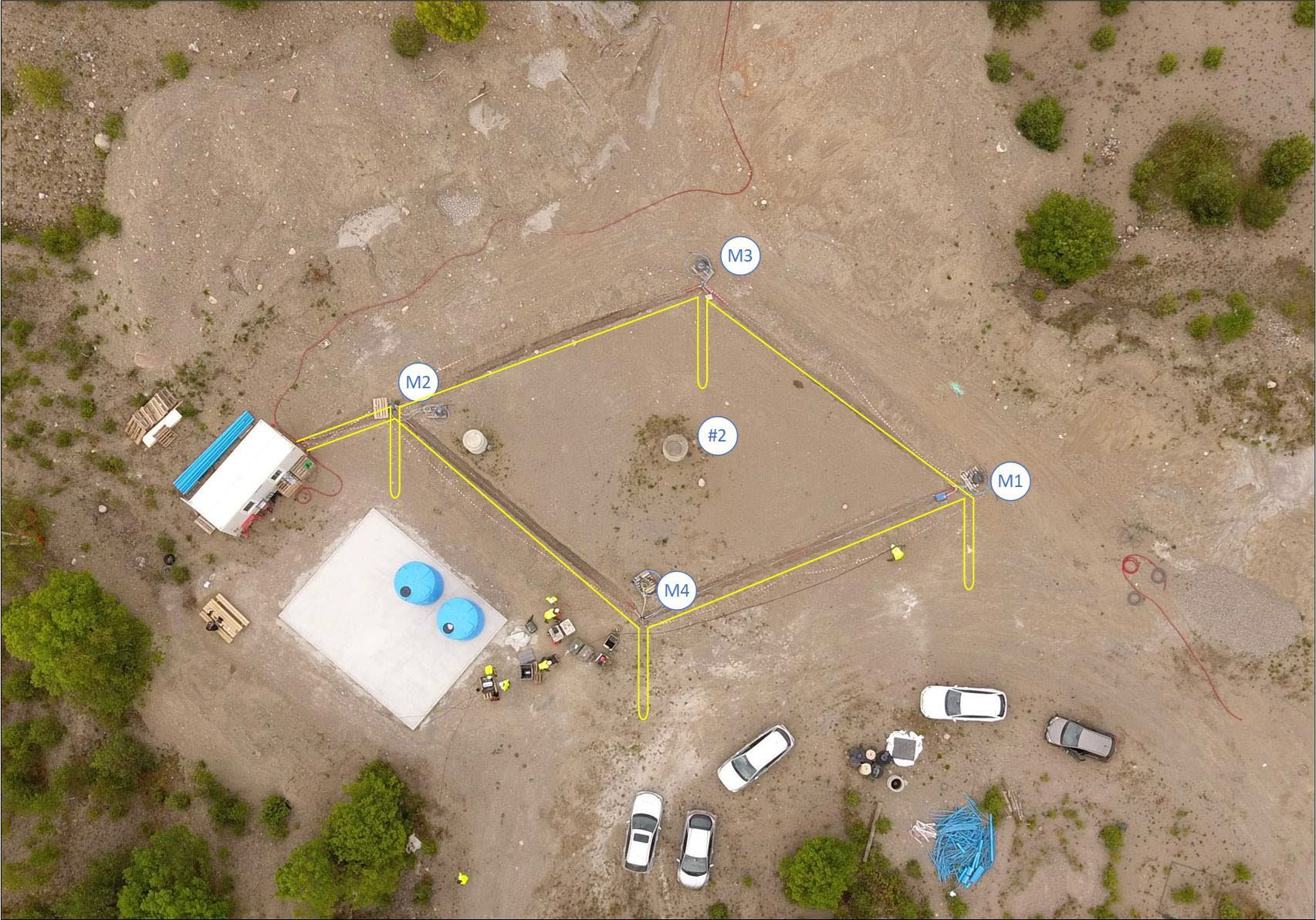 Aerial view of the Svelvik CO2 Field Lab with injection (#2) and monitoring wells (M1-M4) marked. The loops with fibre optic cables (several different commercial and research types) are shown yellow with tongues indicating how the cables also go down into the wells.