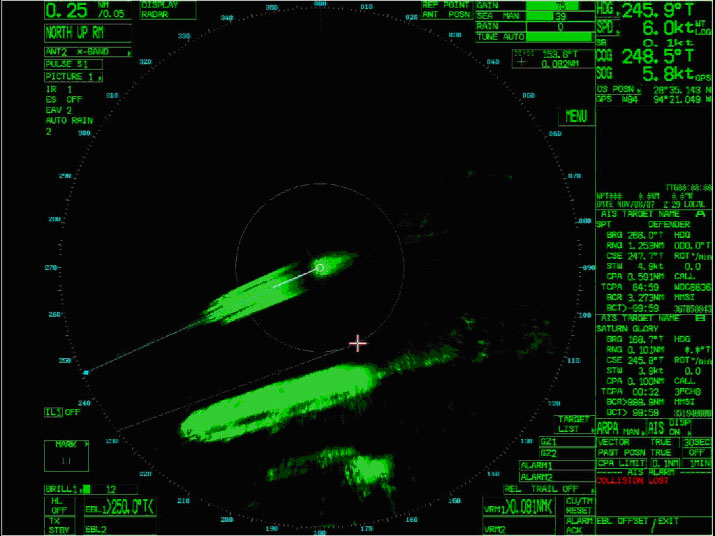 Radar image during final approach.