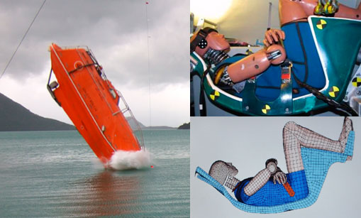 Full-scale testing of a free-fall lifeboat and numerical modelling of a dummy.